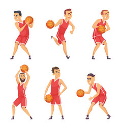 set of basketball players vector image