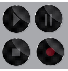 Set of media glass icons vector