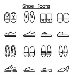 Shoes icon set in thin line style vector