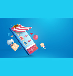 shopping online in smartphone application vector image