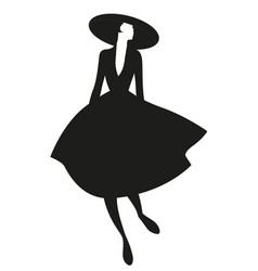 silhouette elegant woman dressed in style vector image