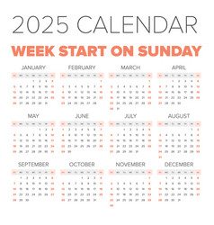 simple 2025 year calendar vector image