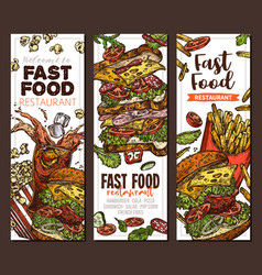 sketch fast food colorful vertical banners vector image