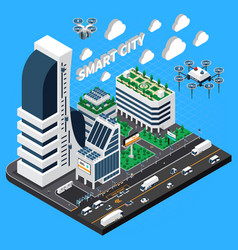 Smart city isometric composition vector
