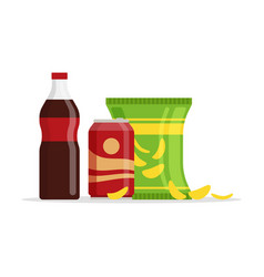 snack product set fast food snacks drinks chips vector image