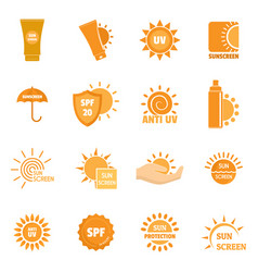 Sunscreen sun protect logo icons set flat style vector