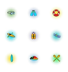 Swimming on water icons set pop-art style vector