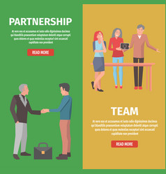 team and partnership as components of startup vector image