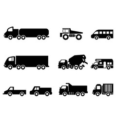 truck icons set vector image