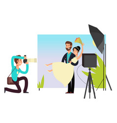 wedding photo session in studio with newlyweds vector image