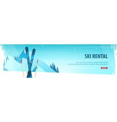 winter sport ski rental horizontal banner vector image