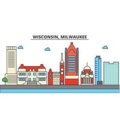 Wisconsin milwaukee citycity skyline vector