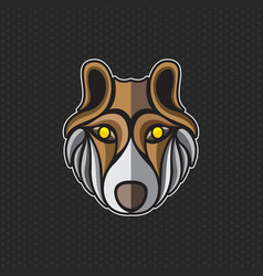 wolf logo design template wolf head icon vector image