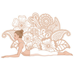 Women silhouette sphinx yoga pose salamba vector
