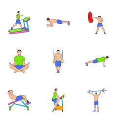 Workout icons set cartoon style vector