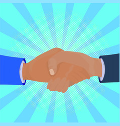 business handshake over comic retro background vector image