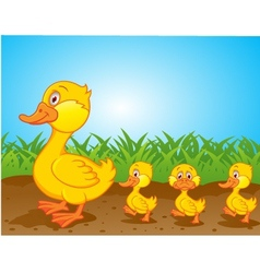 cute family duck cartoon vector image