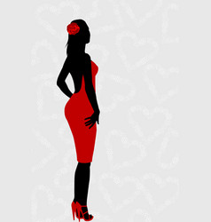 red dress woman silhouette vector image vector image