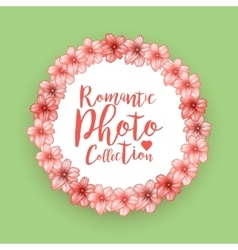 Romantic circle photo frame with pink cherry vector image
