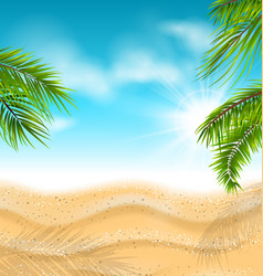 tropical beach with sand sea palm leaves sun vector image
