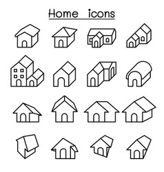 home house icon set in thin line style vector image vector image