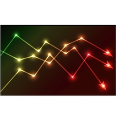 Glowing chart arrows vector image