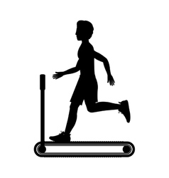 silhouette with man in treadmill vector image vector image