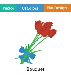 Tulips bouquet icon with tied bow vector