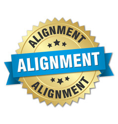 Alignment round isolated gold badge vector