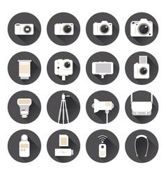 Camera Photography Flat Icons Set vector image