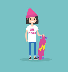 millennial skater girl wearing t-shirt with girl vector image vector image
