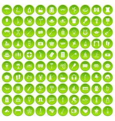100 recreation icons set green vector