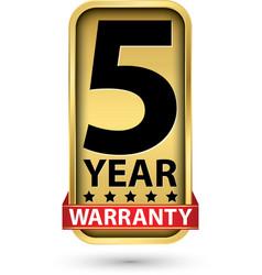 5 year warranty golden label vector