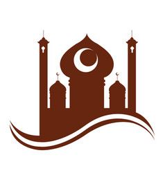 Abstract arabic temple ramadan kareem vector