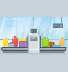 Airport luggage scanner and conveyor belt vector