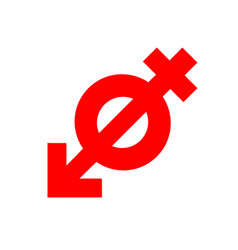 Anti gender antisexuality symbol red icon vector