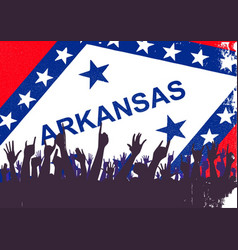 arkansas state flag with audience vector image