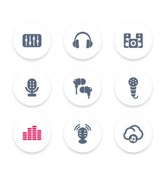 audio icons equalizer sound mixing headphones vector image
