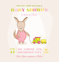 Baby girl kangaroo with a train - baby shower card vector