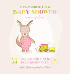 Baby girl kangaroo with a train - shower card vector