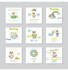 Baby shower card arrival dog boy set vector