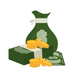 bag money green and currency bill design vector image