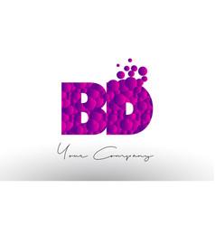 Bd b d dots letter logo with purple bubbles vector