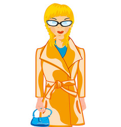 beautiful girl in coat and hand-bag in hand vector image