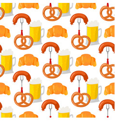 beer glass pretzel seamless pattern vector image