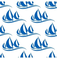 Blue yachts seamless pattern vector image