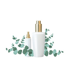 Bottle for cosmetic lotion and jar cream vector
