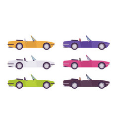 Cabriolet car set in bright colors vector