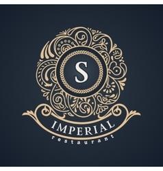 Calligraphic floral baroque monogram Emblem S vector
