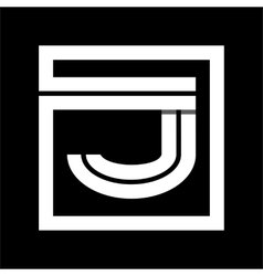 Capital letter J From white stripe enclosed in a vector image